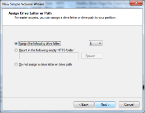 Menu Assign Drive Letter or Path