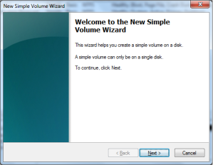 Menu New Simple Volume Wizard